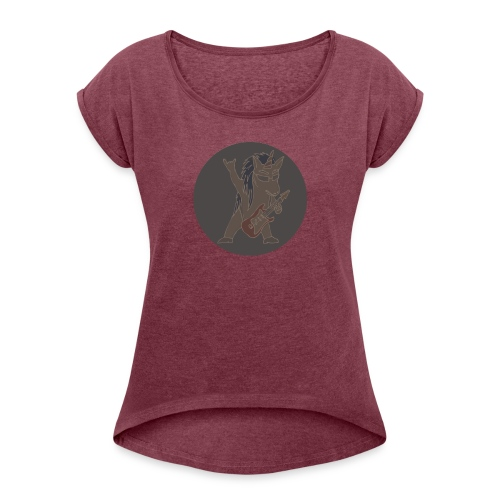Licorne guitare metal fond gris - T-shirt à manches retroussées Femme