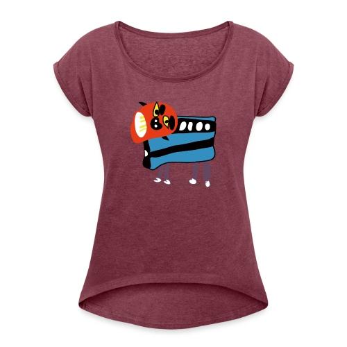 Shi Shi - Vrouwen T-shirt met opgerolde mouwen