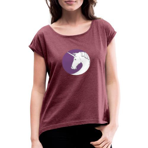 Einhorn Marlene von Hagen Violett - Frauen T-Shirt mit gerollten Ärmeln