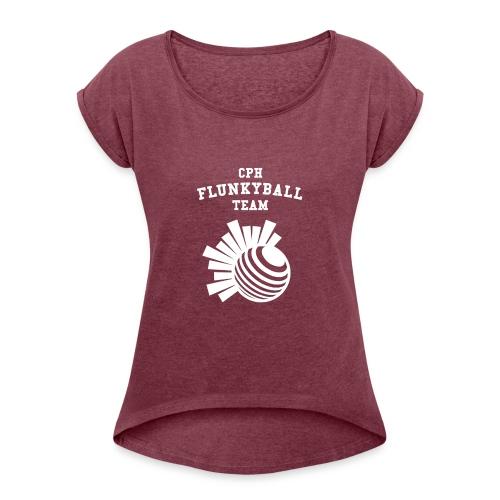 flunkyballHvid - Dame T-shirt med rulleærmer