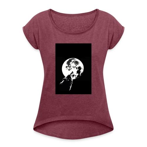 El Lobo y la Luna - Camiseta con manga enrollada mujer