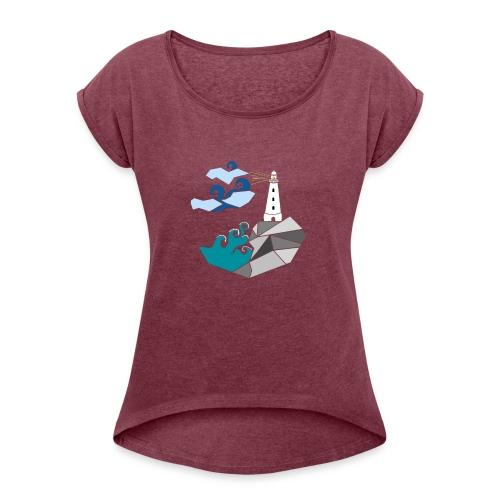 lighthouse - T-skjorte med rulleermer for kvinner