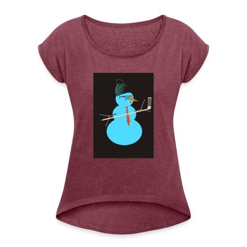 Hockey snowman - Naisten T-paita, jossa rullatut hihat