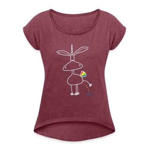 Dru - bunt pinkeln - Frauen T-Shirt mit gerollten Ärmeln