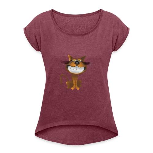 Koszulka kot 15 - Koszulka damska z lekko podwiniętymi rękawami