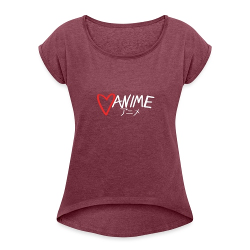 Heart Anime 2 - Women's T-Shirt with rolled up sleeves