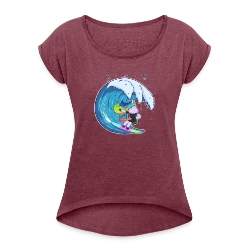 Surfing Unicorn - Women's T-Shirt with rolled up sleeves