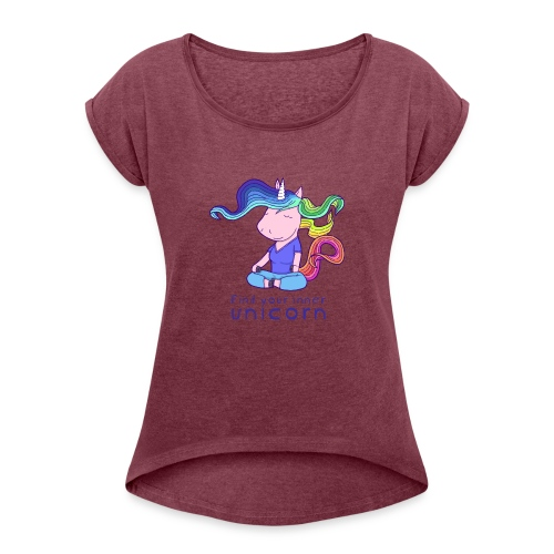 Yoga unicorn in the Lotus - Women's T-Shirt with rolled up sleeves