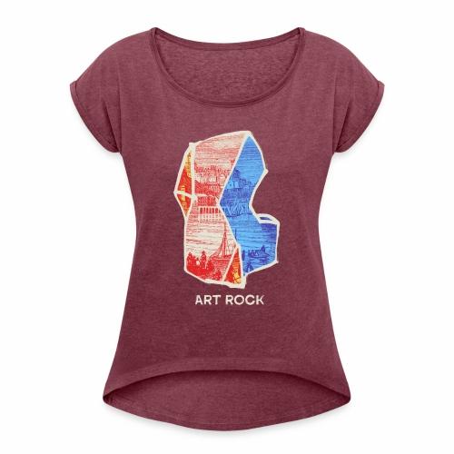 ART ROCK No 3 colour - Vrouwen T-shirt met opgerolde mouwen