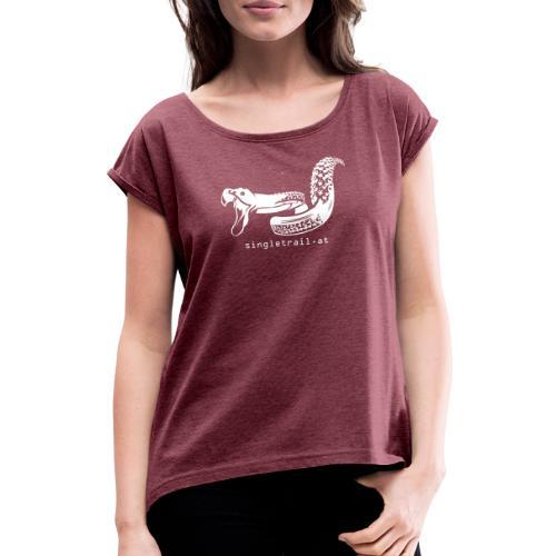 Single Trail Snake in Weiss - Frauen T-Shirt mit gerollten Ärmeln
