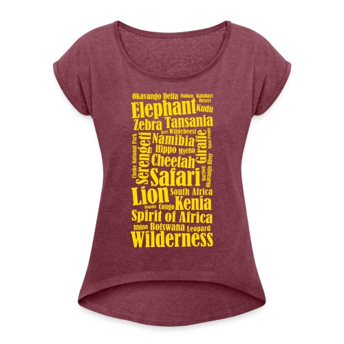 Afrika Kontinent Abenteuer Wildnis Elefanten Löwen - Women's T-Shirt with rolled up sleeves