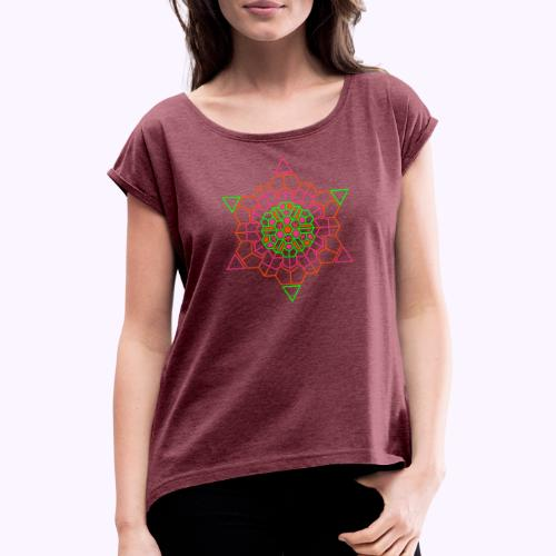 Cosmic Crystal Front - Naisten T-paita, jossa rullatut hihat