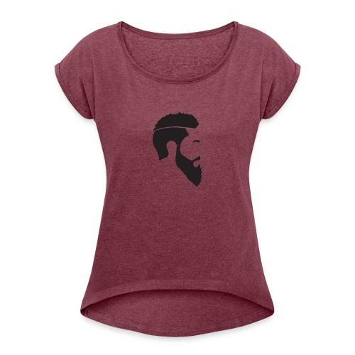 HEAD WHITE T-SHIRT - T-shirt med upprullade ärmar dam