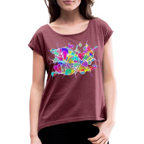 Abstrakte Kunst Neuro Art LOVE IS CRAZY 6 - Frauen T-Shirt mit gerollten Ärmeln
