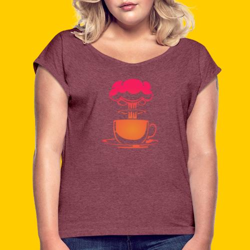 Atom coffee - T-shirt med upprullade ärmar dam