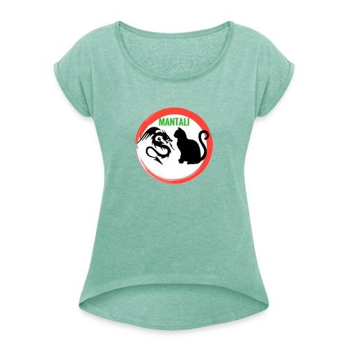manf - Maglietta da donna con risvolti