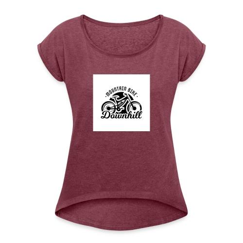 downhill ist leben - Frauen T-Shirt mit gerollten Ärmeln