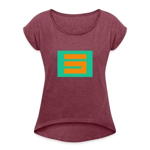 La letra S prediseñada - Camiseta con manga enrollada mujer