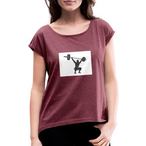Gewichtheber aufdruck - Frauen T-Shirt mit gerollten Ärmeln