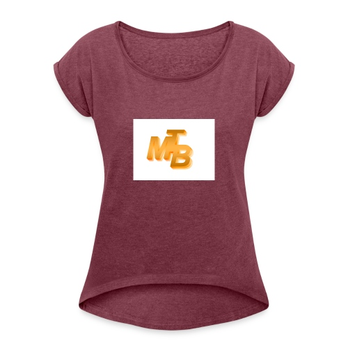 mtb logo gold - Frauen T-Shirt mit gerollten Ärmeln
