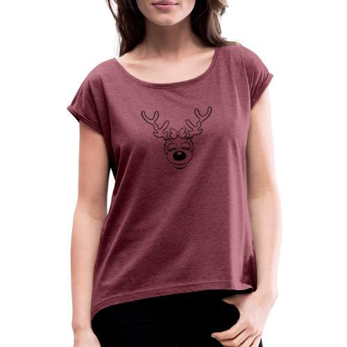 Fröhliche weibliches Rentier ohne Ohren - Frauen T-Shirt mit gerollten Ärmeln