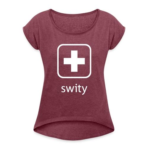 Schweizerkreuz-Kappe (swity) - Frauen T-Shirt mit gerollten Ärmeln