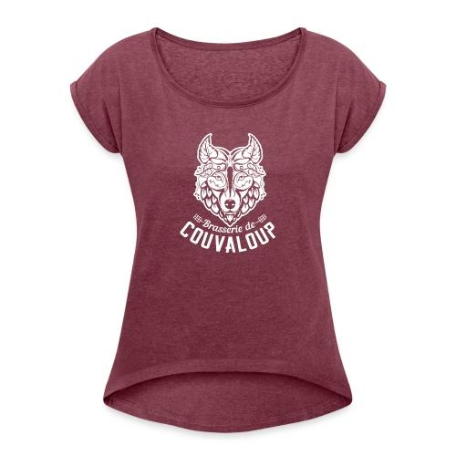 Simple White Logo - T-shirt à manches retroussées Femme