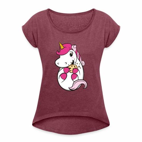 Kekseinhorn - Frauen T-Shirt mit gerollten Ärmeln
