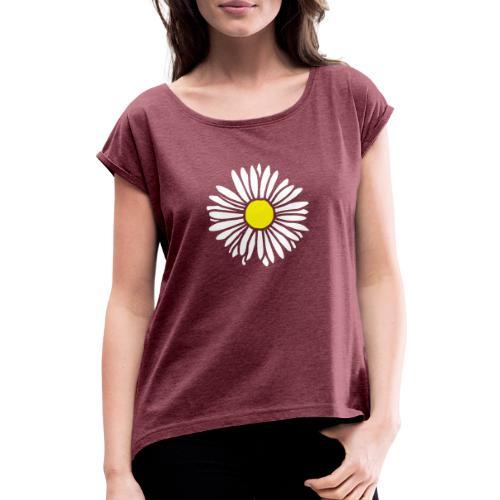 Gänseblümchen zweifarbig - Frauen T-Shirt mit gerollten Ärmeln