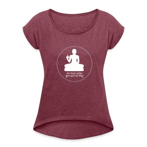 AA vorbei weiß Kreis - Frauen T-Shirt mit gerollten Ärmeln