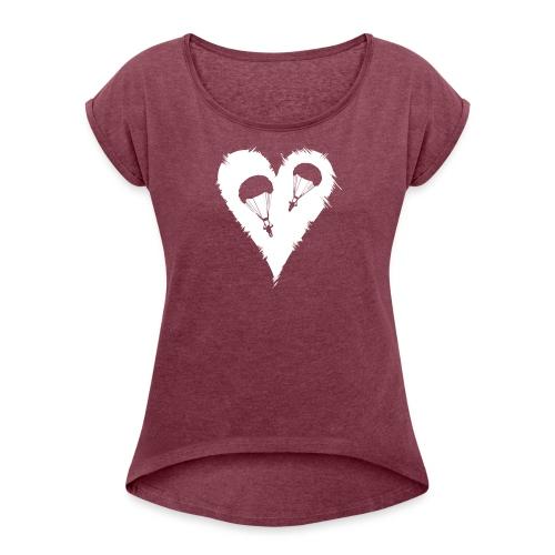 Parachute Heart - Frauen T-Shirt mit gerollten Ärmeln