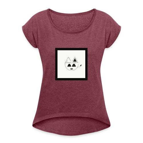Geometric cat head - T-shirt à manches retroussées Femme