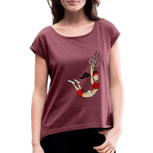 The flying girl - Frauen T-Shirt mit gerollten Ärmeln