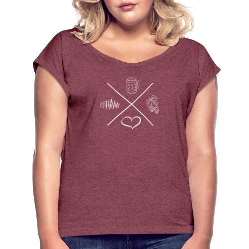 hopfenbierherzgarten - Frauen T-Shirt mit gerollten Ärmeln