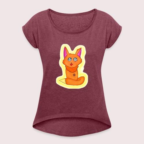 Manga Fuchs 1 2 - Frauen T-Shirt mit gerollten Ärmeln
