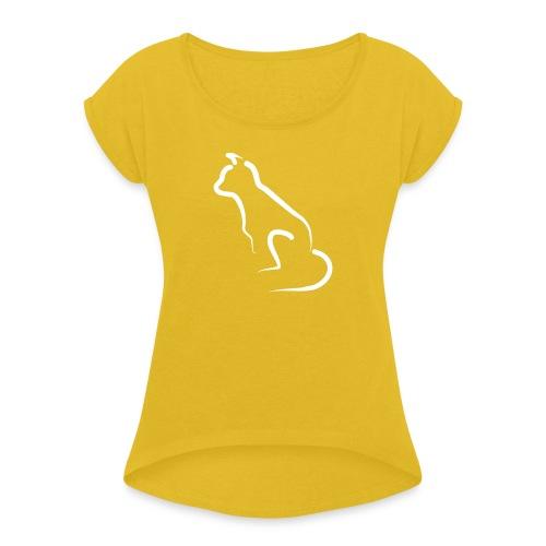 katten silhoutte - Vrouwen T-shirt met opgerolde mouwen
