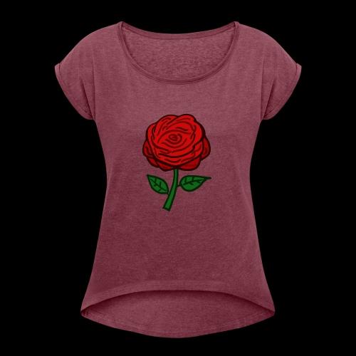 Rote Rose - Frauen T-Shirt mit gerollten Ärmeln