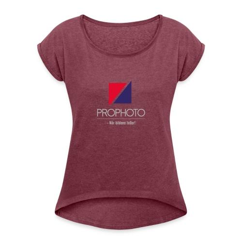 logo trykk pro - T-skjorte med rulleermer for kvinner