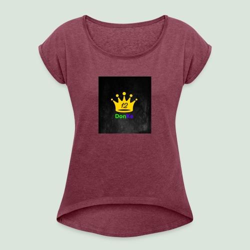 DonKe 12er Fashion - Frauen T-Shirt mit gerollten Ärmeln