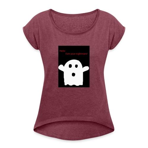 Cute Ghost - Naisten T-paita, jossa rullatut hihat