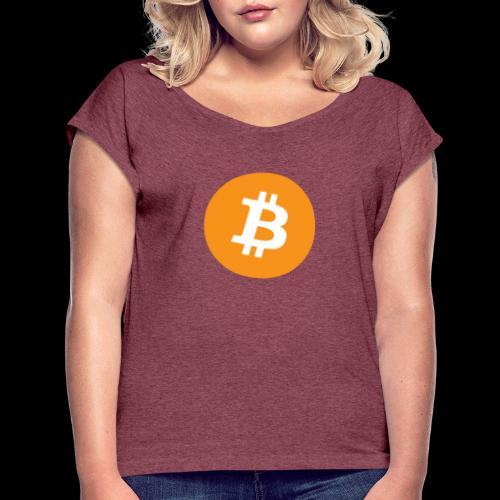 bitcoin logo - Frauen T-Shirt mit gerollten Ärmeln