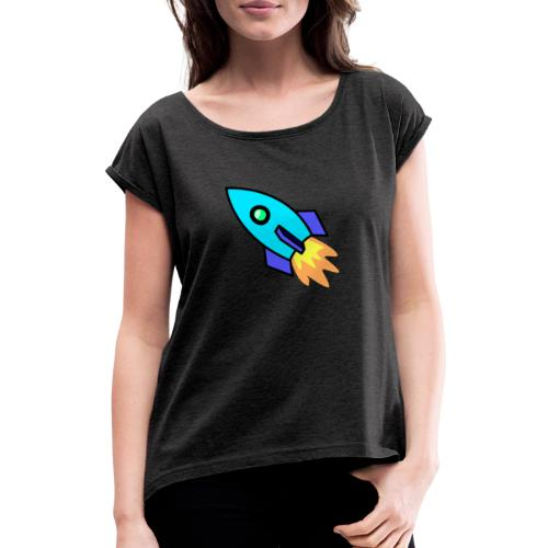 Blue rocket - Women's T-Shirt with rolled up sleeves