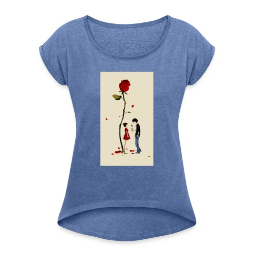 Roses are red - Camiseta con manga enrollada mujer
