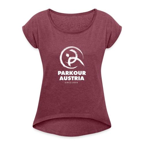 PKA_Logo_whitegesamt - Frauen T-Shirt mit gerollten Ärmeln