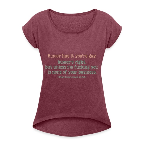 QAF Brian Kinney Rumors - Maglietta da donna con risvolti