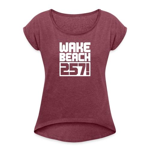 257-Logo-Free 1c - Frauen T-Shirt mit gerollten Ärmeln
