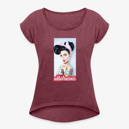 PINup - Camiseta con manga enrollada mujer