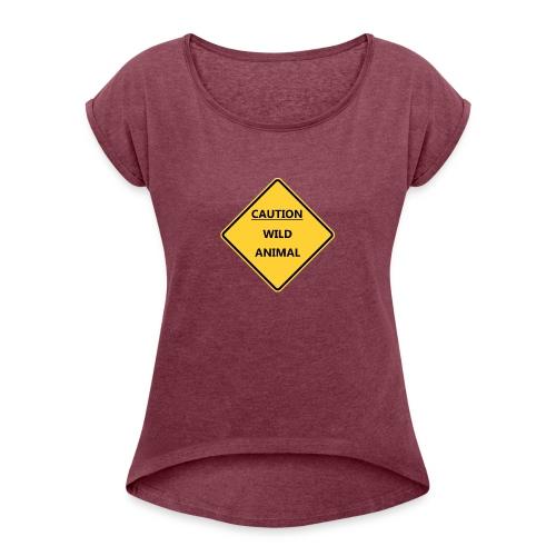 Caution Wild Animal - T-shirt à manches retroussées Femme