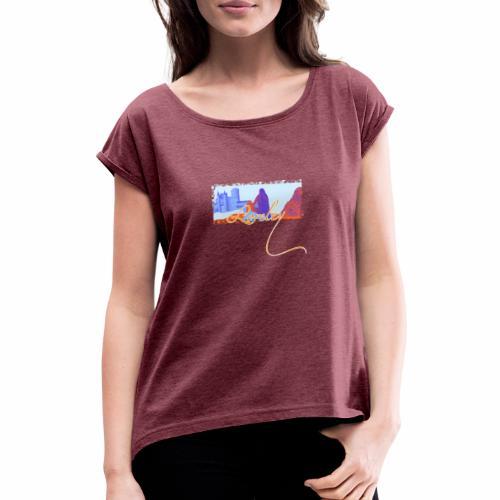 Burg Katz und die Loreley - Frauen T-Shirt mit gerollten Ärmeln