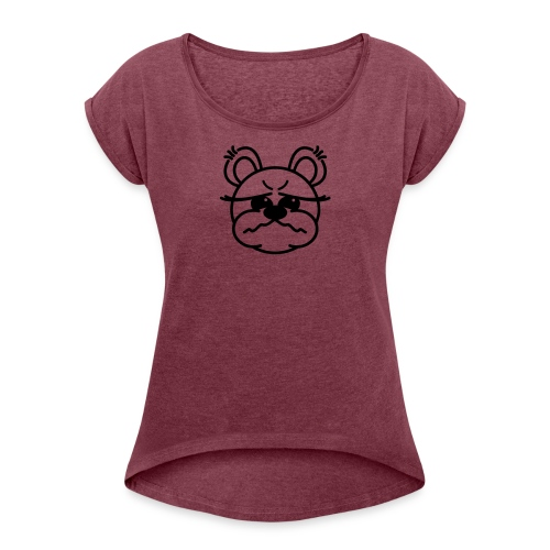Bärchen schlecht gelaunt - Frauen T-Shirt mit gerollten Ärmeln